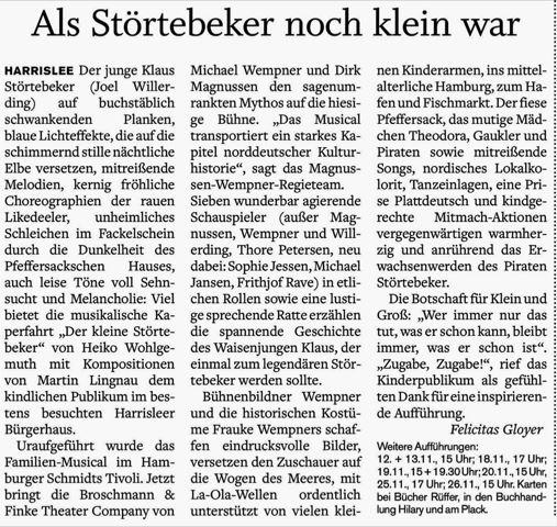"""Bericht zur Premiere des Kinderstücks """"Der kleine Störtebeker"""""""