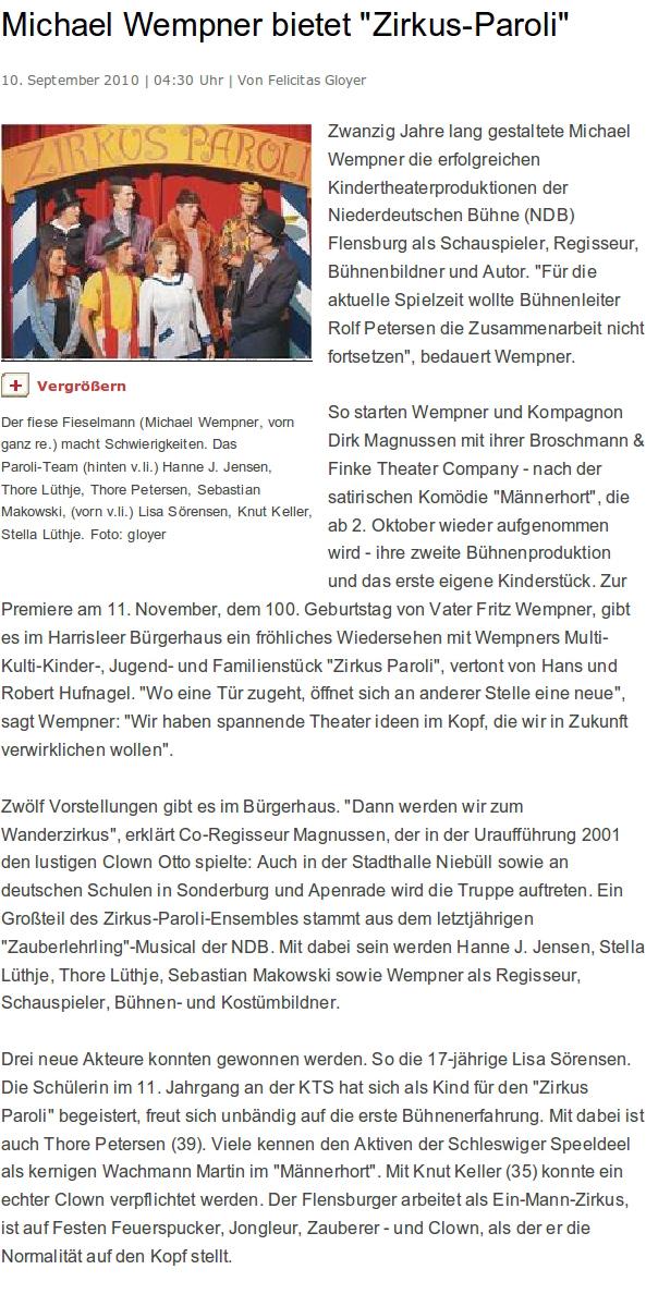 Flensburger Tageblatt, 10.09.2010