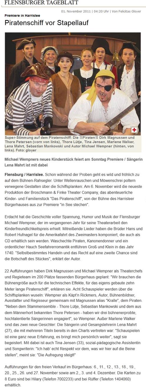 Flensburger Tageblatt, 01.11.2011