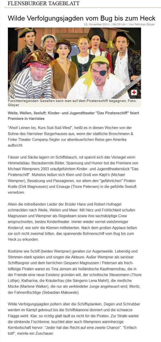 Flensburger Tageblatt, 12.11.2011